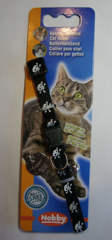 REFLECTIVE SAFETY CAT COLLAR SKULL & CROSSBONES WITH OR ENGRAVED WITHOUT ID TAG
